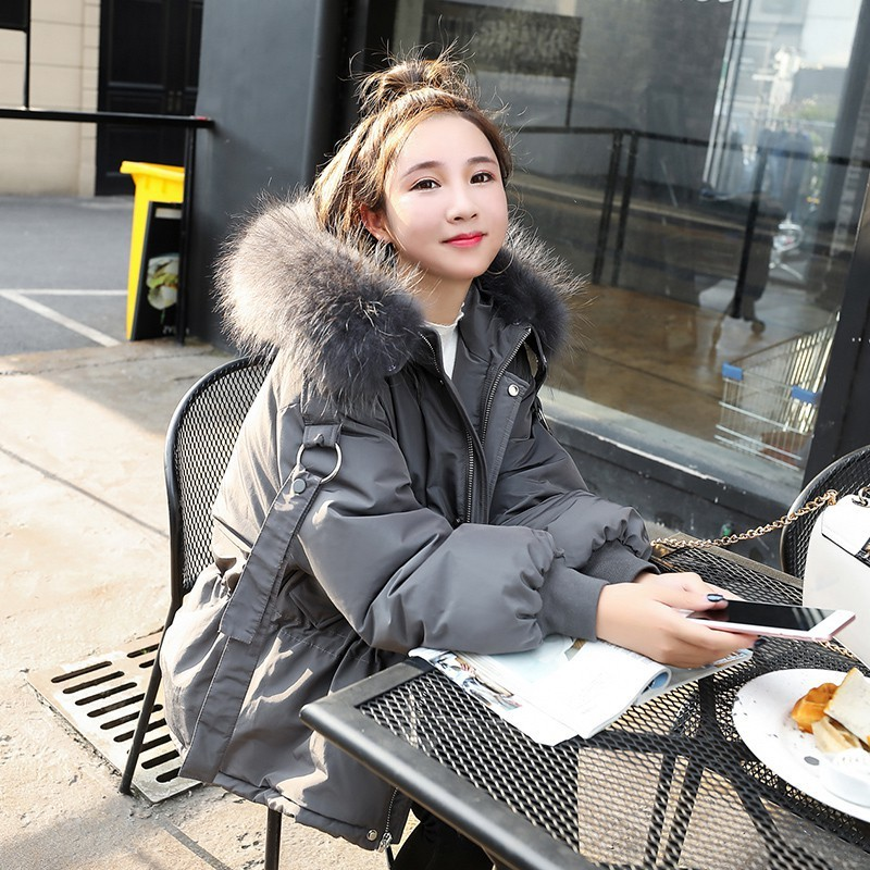 Winter Down Jacket Woman Hooded Big Fur Collar Down Coat Women Parka Short Thick Korean Overcoat Casacas Para Mujer