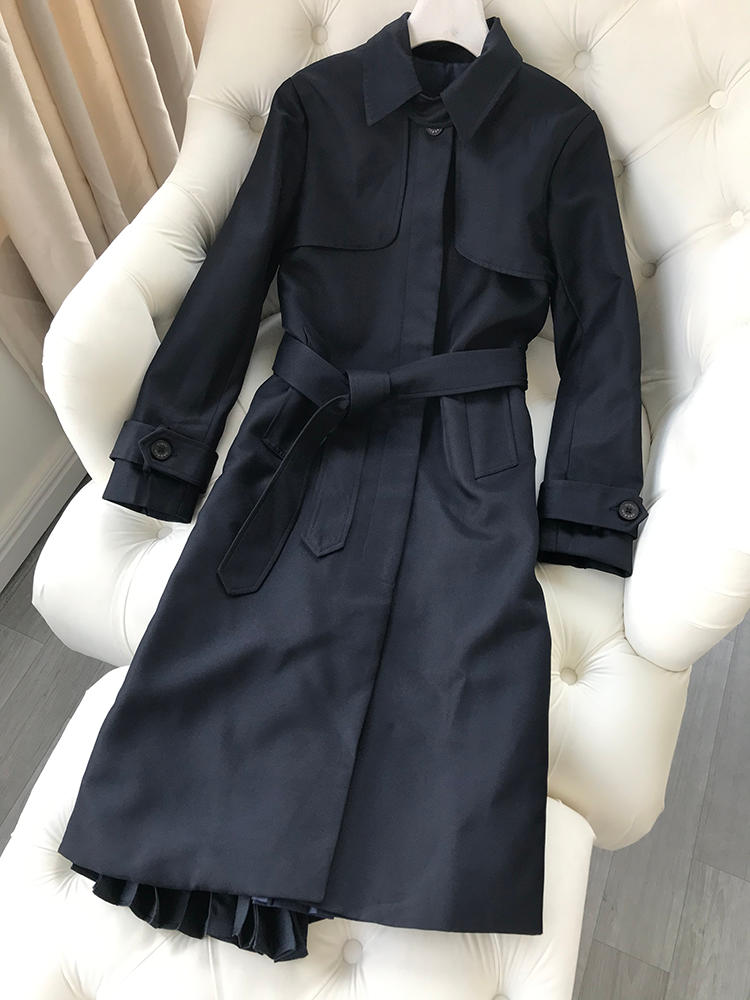 Image 2 - Women Trench 2019 Autumn and Winter New  Stand Collar Tie Bow Long JacketTrench