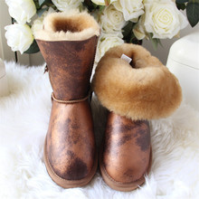 Top Quality 2020 New Arrival 100% Natural Fur Genuine Sheepskin Women's Snow Boots Winter