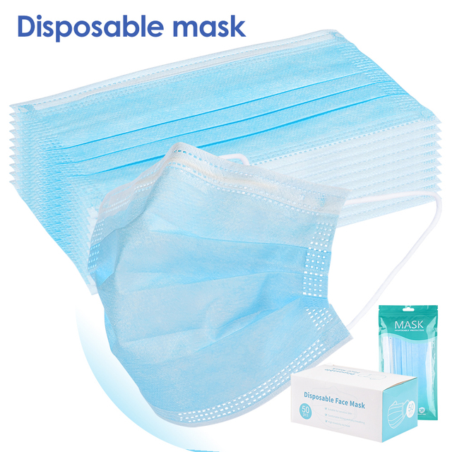 200 PCS Disposable Face Mask 3 Layer Mouth Masks Filter Ear Loop Maske Earloop Cover Mask Safety Breathing Maska 2