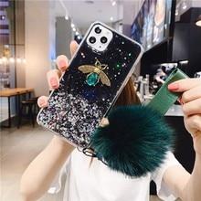 Luxury 3D Diamond Bee Glitter Hairball Soft phone case For