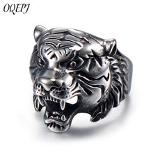 OQEPJ Vintage Animal King Tiger Head Shape Rings 316L Stainless Steel Animal Ring Animal Men Ring Personality Unique Jewelry chic dragon head shape ring for men