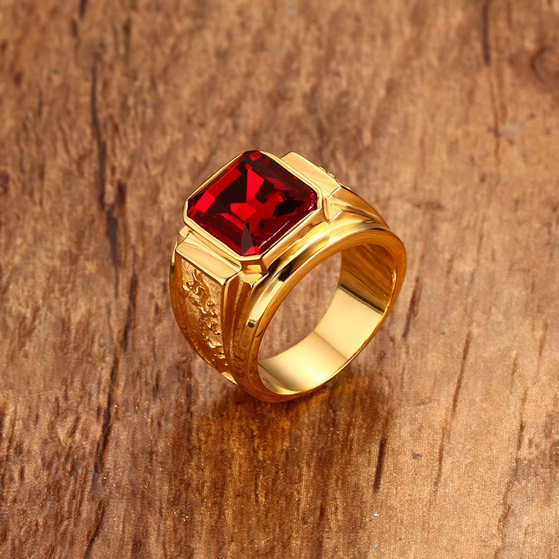 SQUARE RED STONE HIP HOP MEN RING IN GOLDEN STAINLESS STEEL ENGRAVE DRAGON RINGS MENS JEWELRY