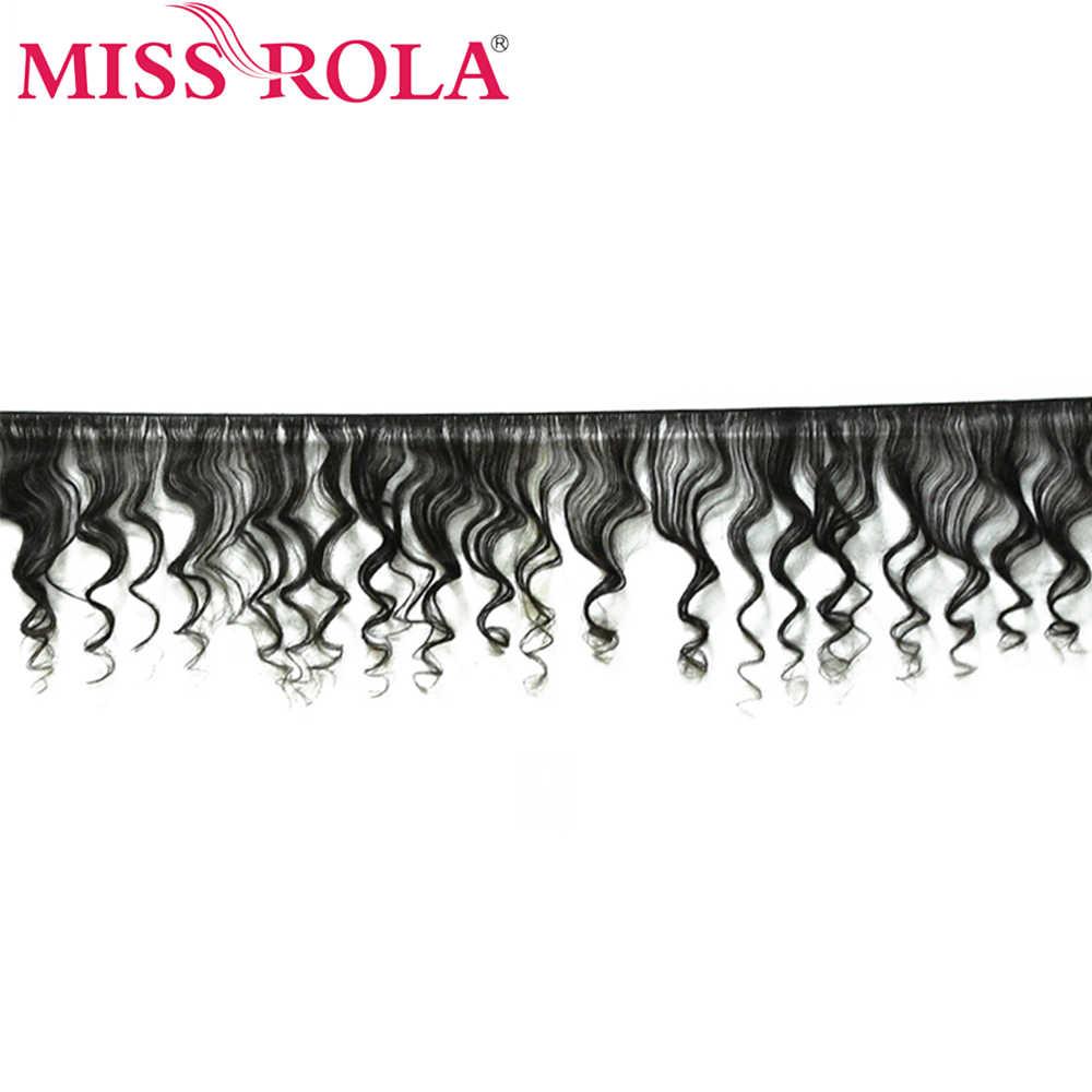 Miss Rola cabello malayo onda suelta 3 paquetes con cierre 100% paquetes de cabello humano cabello malayo con 4*4 cierre de encaje no Remy