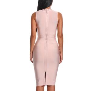 Image 2 - Indressme Midi Vrouwen Bandage Party Zomer Jurk Mode Coltrui Mouwloze Bodycon Jurk Vestidos Groothandel 2020