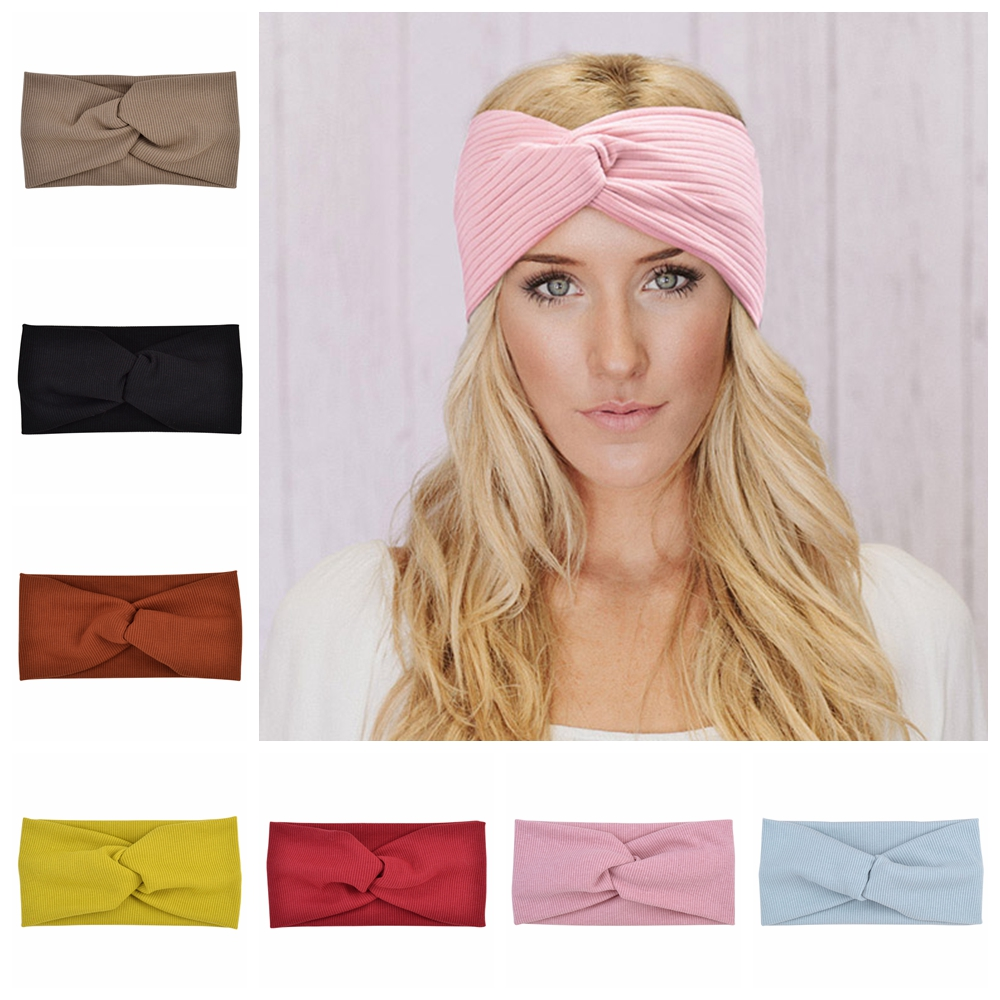 Cotton Women Headband Turban Solid Color Girls Knot Hairband Hair Accessories Twisted Ladies Makeup Elastic Hair Bands Headwrap|Women