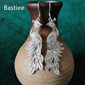 Image 2 - Bastiee 999 Sterling Silver Peacock Earrings Bohemian Drop Dangle Earings Ethnic Handmade Luxury Fine Jewelry Boho New Arrival