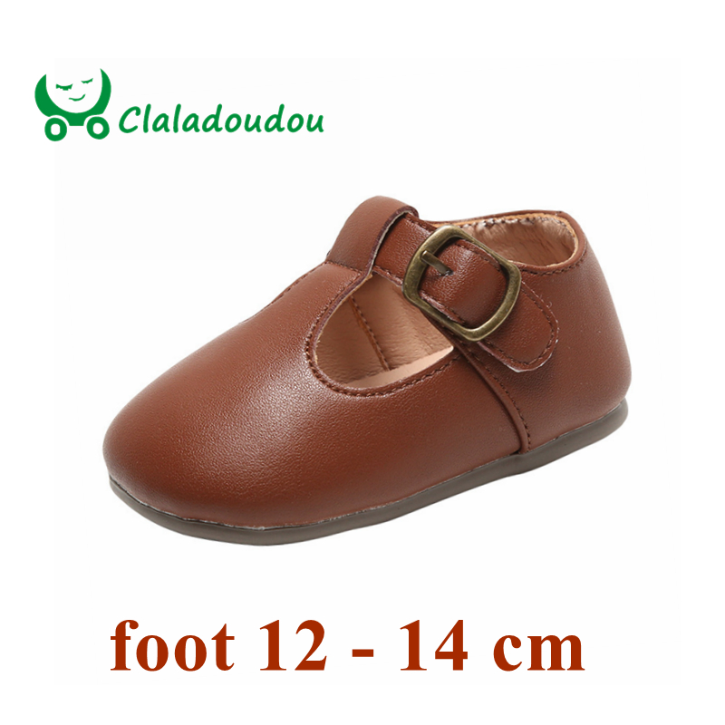 Claladoudou 12-14cm Brand Infant Girls Boys Pu Leather Shoes For First Birthday Toddler Pure Brown Beige Black Solid Strap Shoes