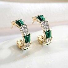 New snake bone green red stone female earrings ear ring S925 needle stud fashion jewelry eardrop earring accessories