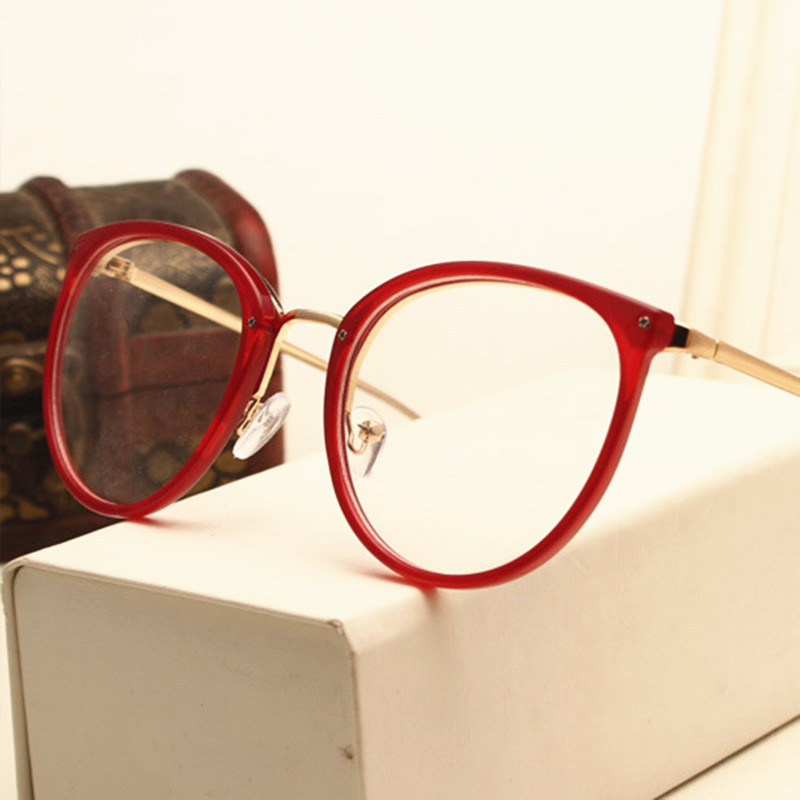 Fashion Retro Round Eyeglasses Women Metal Full Glasses Frame Optical Spectacles Clear Lens Computer Eye Glasses