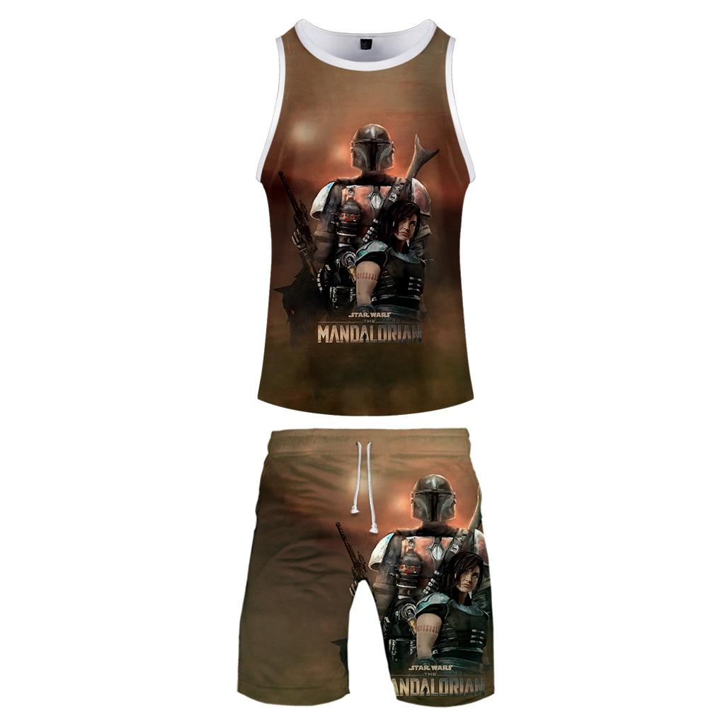 2019 Mandalorian Two Piece Set Tank Top And Shorts Harajuku Men Tank Top Mandalorian Basketball Sleeveless Streetwear For Mens
