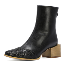 Women's Boots Wedge Chunky-Heel Heel-Stripe Square Multicolor Fashion Grain Patchwork