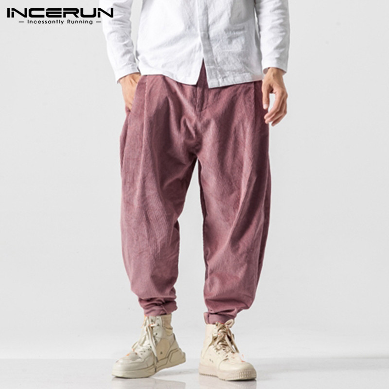 INCERUN Fashion Men Solid Harem Pants Fashion Joker Baggy Casual Trousers Literary Mens Corduroy Sweatpants Joggers Streetwear