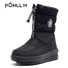 PUHLLM Winter Boots Womens Fashion Wild Warm Shoes Non-slip Stretch Casual Large SizeF28
