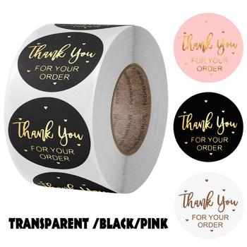 #8222 Dziękuję za zamówienie #8221 naklejka na kopertę plomby do etykiet naklejka czarne różowe przezroczyste złoto naklejka dostawa artykułów piśmienniczych tanie i dobre opinie CN (pochodzenie) 3 lata ROUND Papier 1INCH