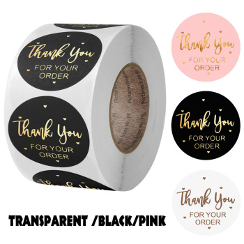 ''THANK you for your order''sticker for envelope sealing labels sticker black pink transparent gold sticker stationery supply
