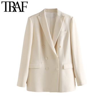 TRAF Women Fashion Office Wear Double Breasted Blazer Coat Vintage Long Sleeve Pockets Female Outerwear Chic Tops