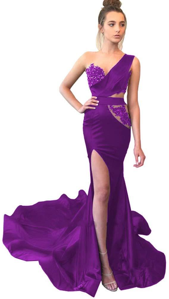2020 Multi Keuze Vrouwen Een Schouder Lace Side Slit Rood Blauw Bourgondië Lange Avondjurken Mermaid Prom Jassen Met trein - 6