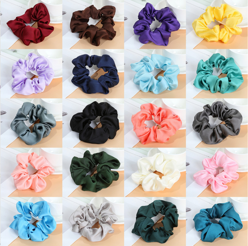 1PC Fashion Solid Color Satin Large Intestine Circle Girls Elastic Hair Bands Ponytail Women's Hair Accessories HeadWear