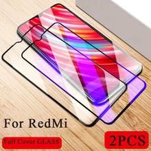 2pc capa completa para redmi 9 8 7 6 7a k20 pro global cristal de vidro protetor para xiomi redmi nota 9s 9 8 7 6 5 pro vidro temperado
