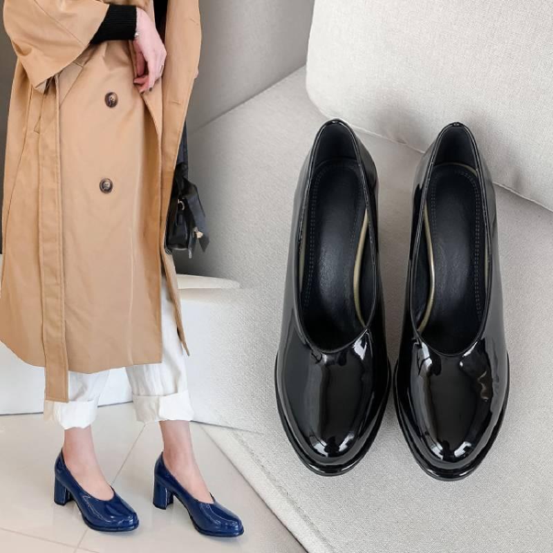 Meotina zapatos de tacón alto para mujer, zapatos de cuero de charol grueso de tacón alto, zapatos de moda, zapatos de punta redonda para mujer, rojo, nuevo de talla grande 34-46 KYSZDL gran oferta de alta calidad Natural granate pulsera moda mujer cristal pulsera joyería regalos