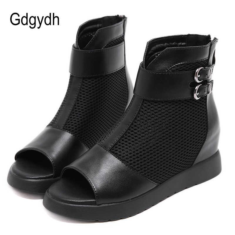 Gdgydh yaz çizmeler gladyatör ayakkabı kadınlar açık Toe Mesh Hollow Out kısa çizmeler fermuarlı moda toka avrupa ayakkabı kadın