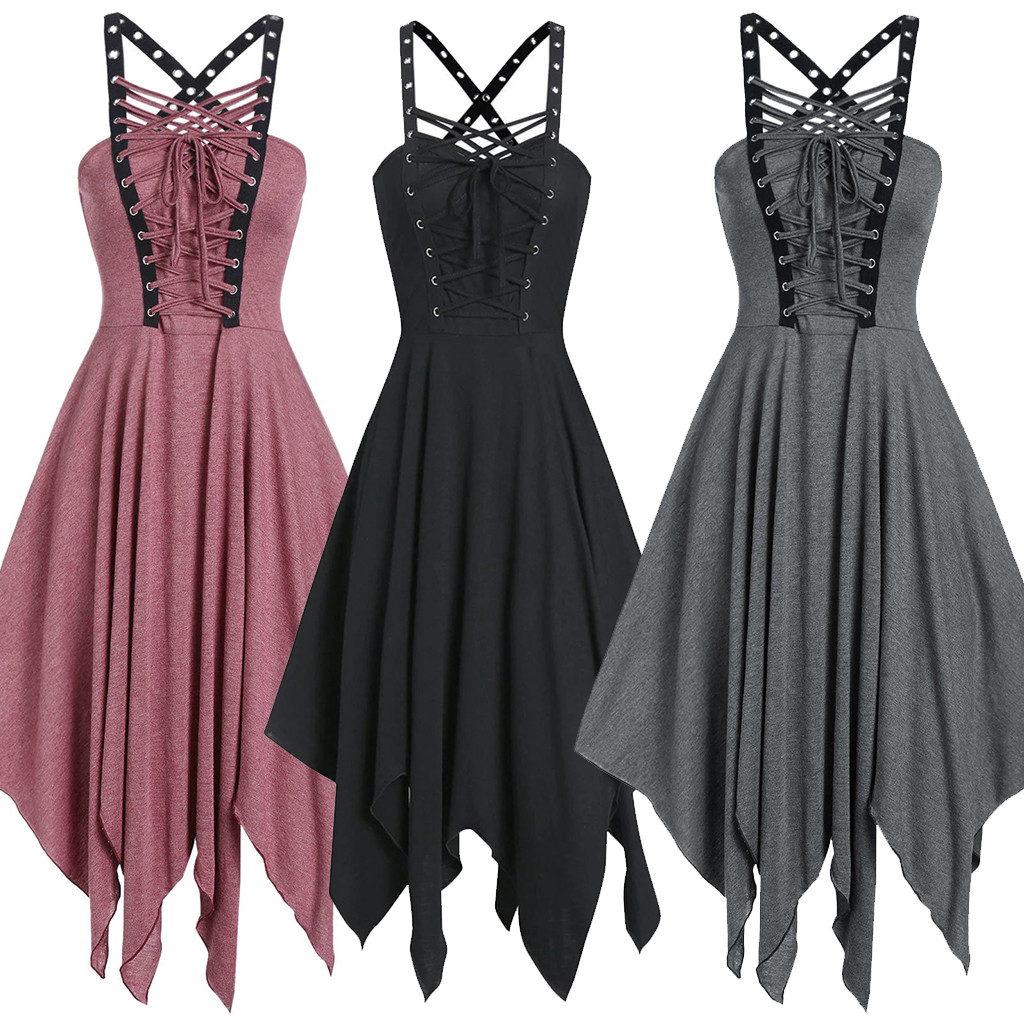 JAYCOSIN Women Dress Vestidos Gothic Cool Solid Bandage Irregular Hem Sleeveless Sling Women Dresses Femme Dress 19Sep18