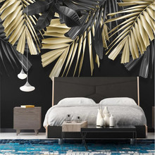 Milofi Nordic minimalist hand-painted tropical plants golden leaves background wall decoration painting