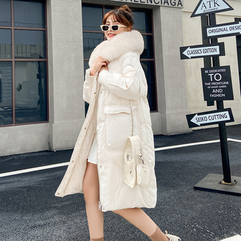 Winter loose fox real big fur collar down jacket women mid-length 2020 new white duck down coat image