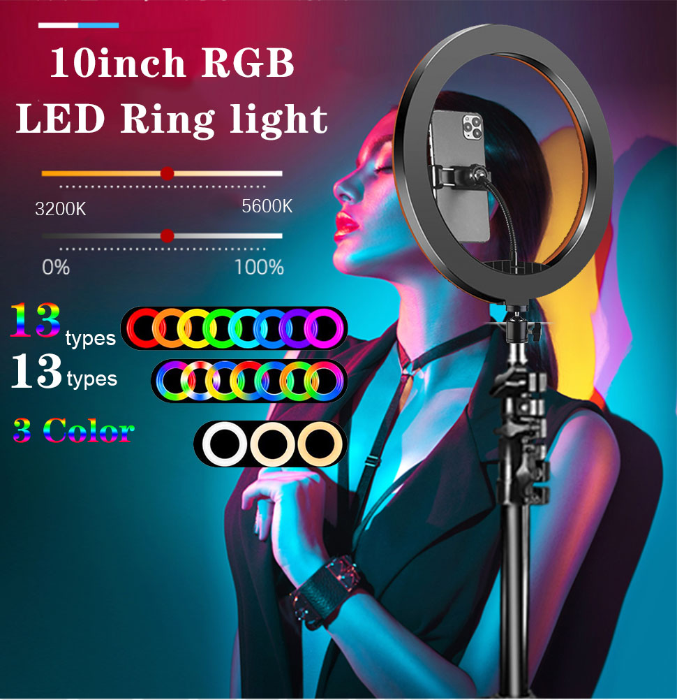 H9e89d8cc9f6247adbb3203cd91b485b9k Orsda 10-13 Inch RGB Ring Light Tripod LED Ring Light Selfie Ring Light with Stand RGB 26 Colors Video Light For Youtube Tik Tok