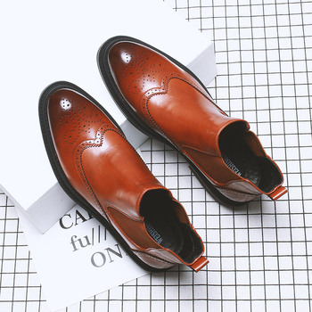 mens fashion wedding party dresses brogue chelsea boots cow leather bullock shoes ankle botas masculinas zapatos de hombre male