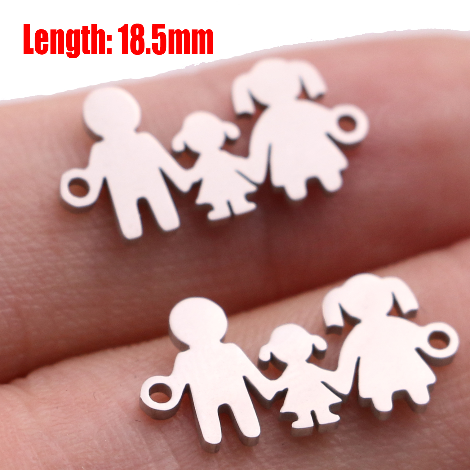 5pcs Family Chain Stainless Steel Pendant Necklace Parents and Children Necklaces Gold/steel Jewelry Gift for Mom Dad New Twice - Цвет: Steel 34