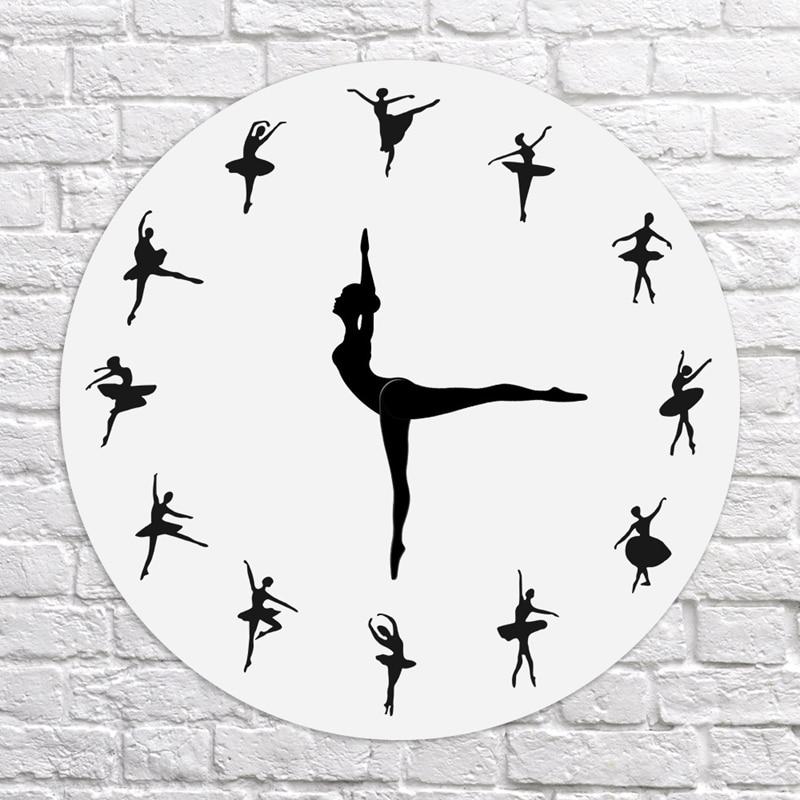 HLZS-Charming Ballerina Wall Clock Baby Girl Nursery Decor Ballet Dancer Modern Wall Clock Ballet Dancing Girl Needle Hand Wall