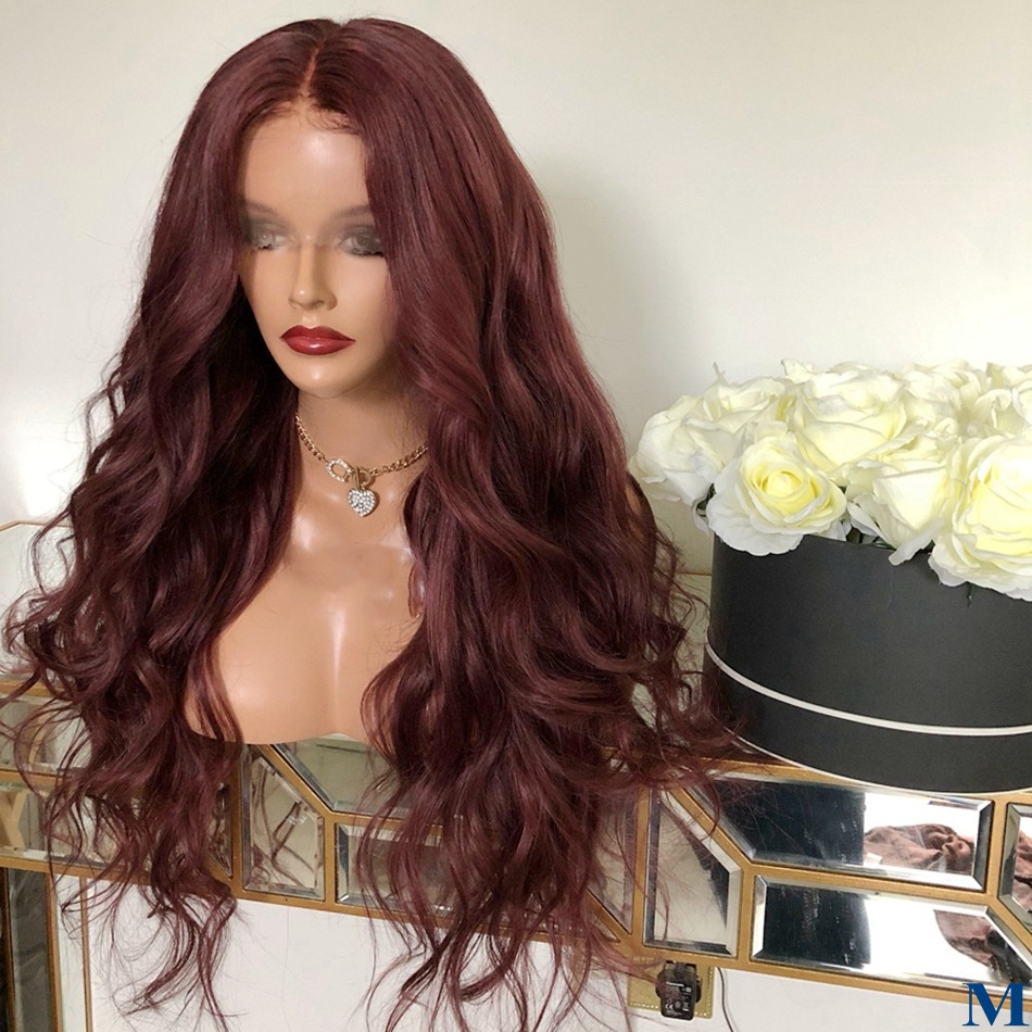 Body Wave 99J Human Hair Silk Base Lace Front Wigs Preplucked Hairline Full Lace Burgundy Brazilian  Silk Top 180Density Wigs