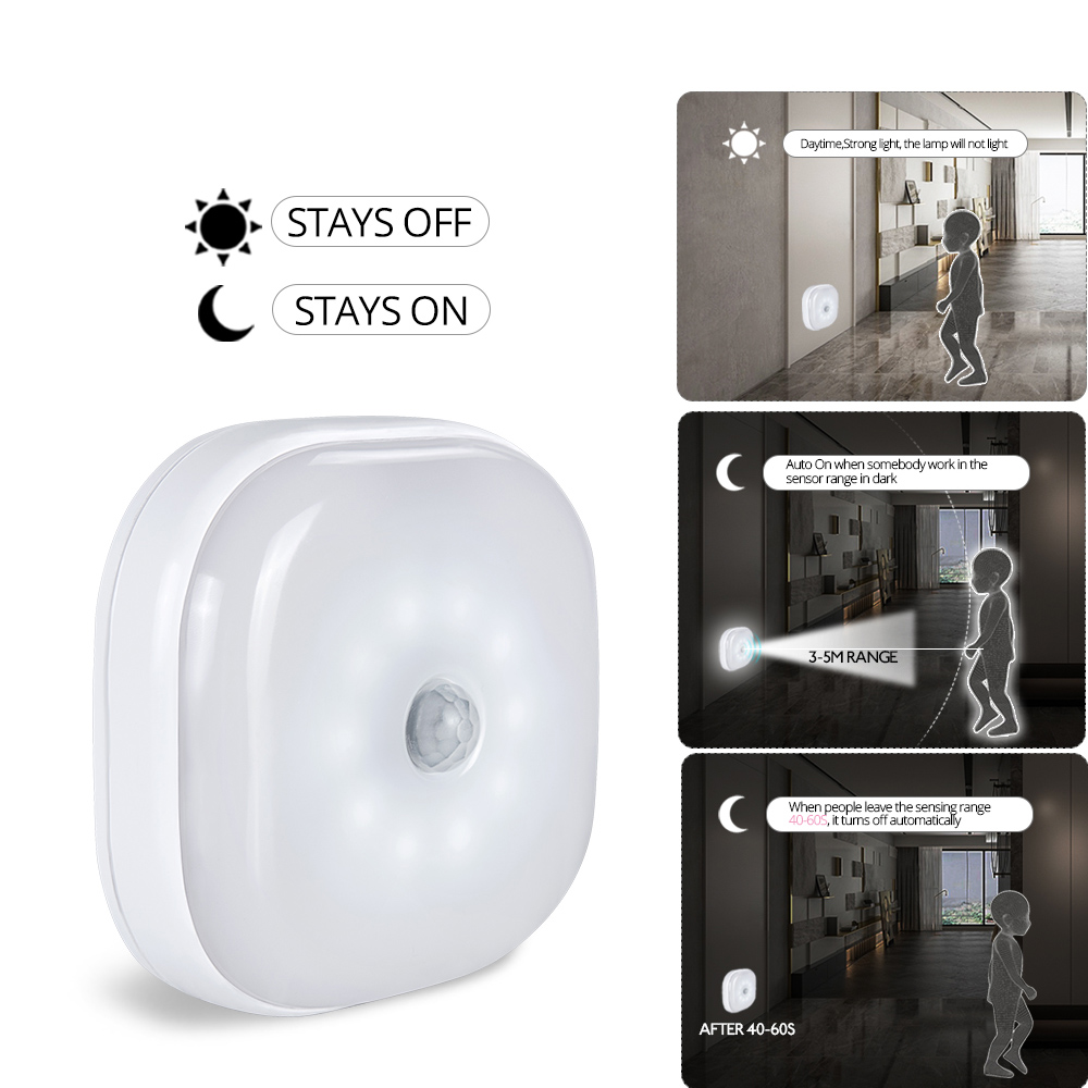 10Leds Motion Sensor Night Light Potable Closet Lights Battery Powered Wireless Cabinet IR Infrared Motion Detector Wall Lamp