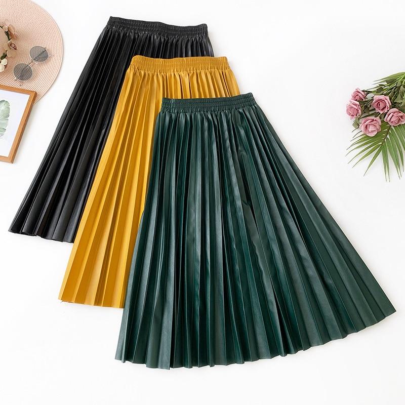 2019 Autumn New Arrival Fashion A-line Skirt Temperament Slim Versatile PU Leather Skirt Long Umbrella Skirt Free Shipping