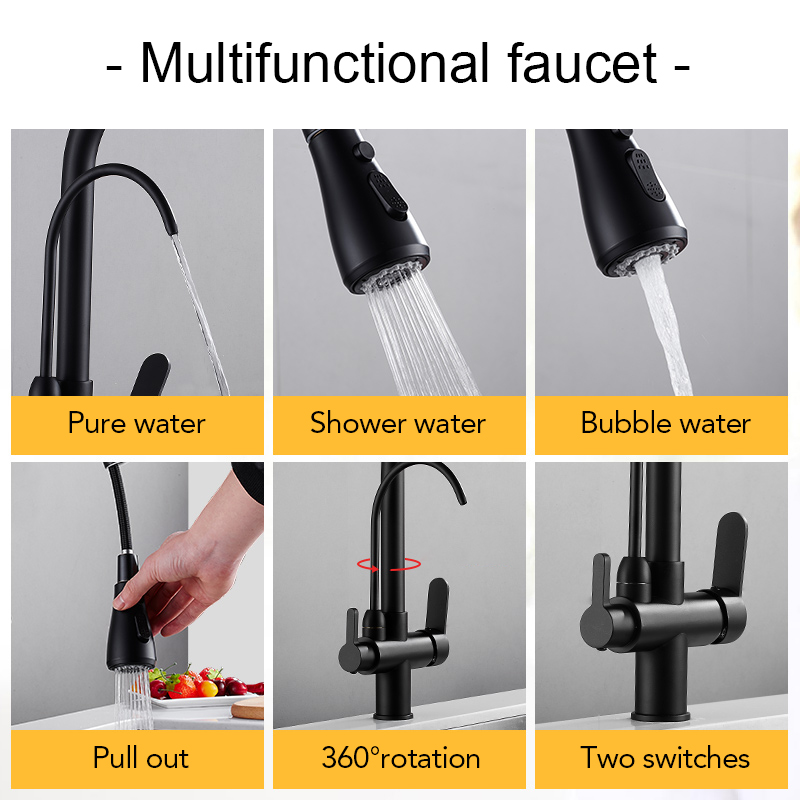 Deck Mounted Black Kitchen Faucets Pull Out Hot Cold Water Filter Tap for Kitchen Three Ways Sink Mixer Kitchen Faucet ELK9139B 3