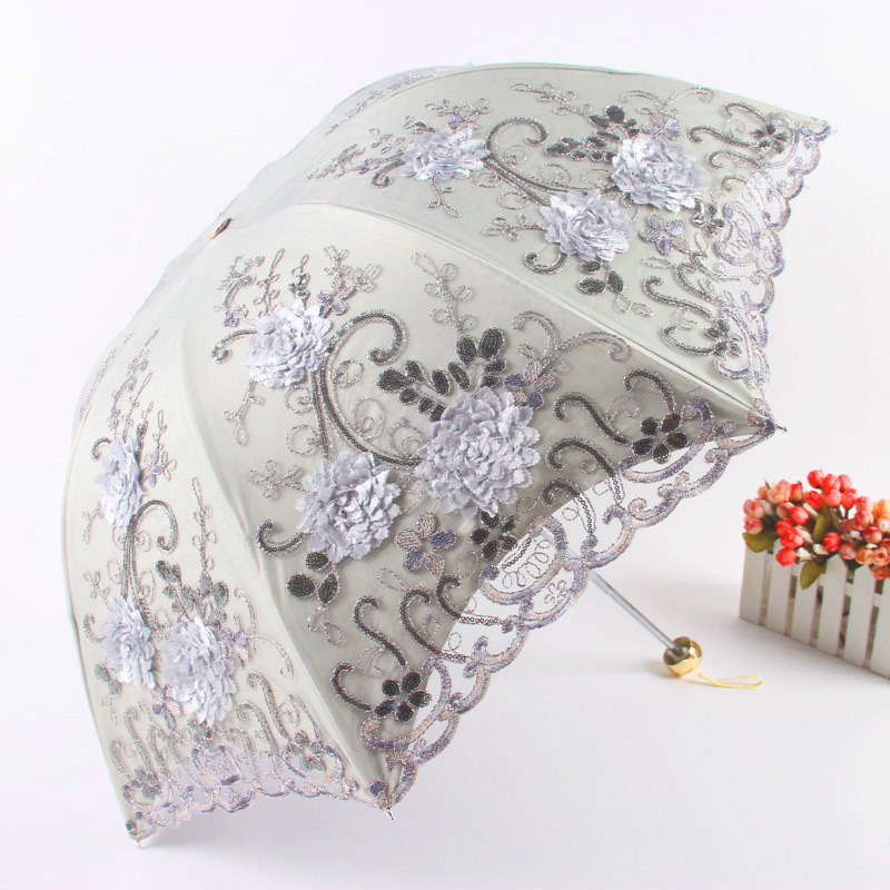 Aurora Factory Direct Selling Embroidery restonic san All-Weather Umbrella 1620 Three Fold Vinyl Double Layer UV-Protection Para