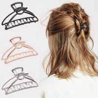 Women Girls Geometric Hair Claw Clamps Metal Hair Crab Moon Shape Hair Claw Clip Solid Color Hairpin Large Size Hair Accessories