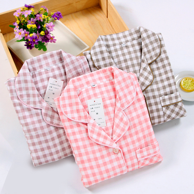 Japanese Simple Lattice Couple Pajamas Set Spring Autumn Cotton Long-sleeved Trousers Casual Home Service Suits Men Women Yukata