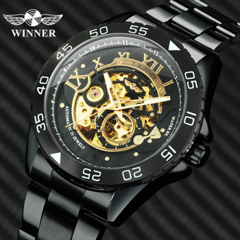WINNER Official Business Mens Automatic Watches Top Brand Luxury Skeleton Mechanical Watch Men Stainless Steel Strap Wristwatch