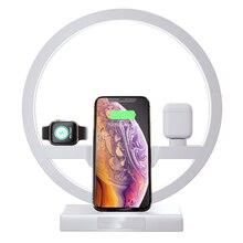Cargador inalámbrico Qi para Apple Watch iWatch2, 3, 4, 5, soporte para cargador de Airpods, lámpara LED de mesa