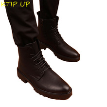 Winter Boots Motorcycle-Boots Military-Fur Fashion Black Autumn Warm Velvet Plus