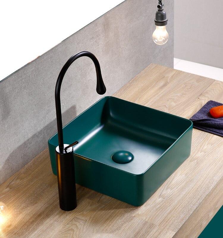 Lavabo nordique jaune mat carré Art vasque céramique lavabo au dessus du comptoir céramique or toilettes Ez shampooing bassin