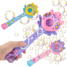 Childrens Bubble Machine Automatic Magic Stick Music Flash Electric Gun Blowing Toy