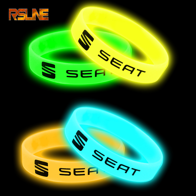 Luminous Car Badge Silicone Holographic Bracelet Sport Wristband For Seat FR Leon Ibiza Cupra Altea Car Accessories Car Styling