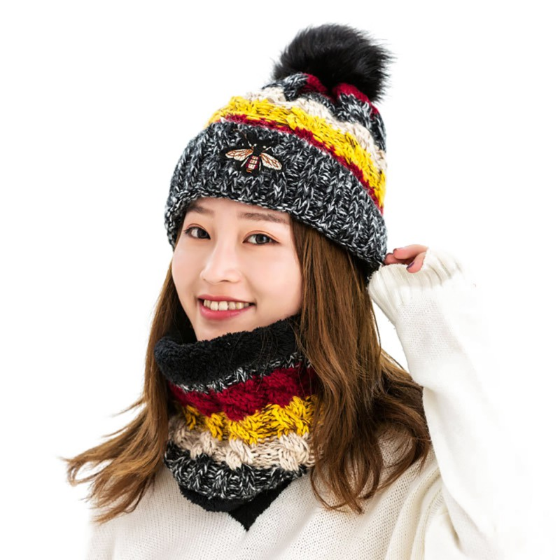 Women Knitted Pompom Beanie Winter Windproof Warm Thermal Scarf Skiing Cycling Cap Colorful Scarf Set