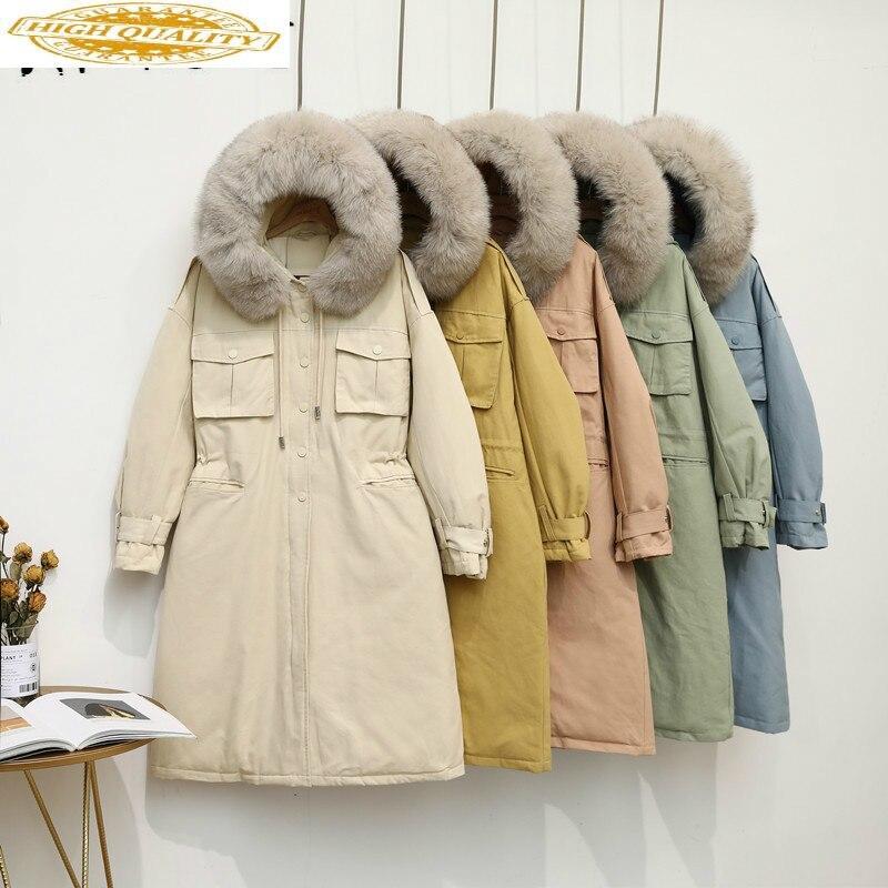 Winter Coat Women White Duck Down Jacket Women Big Fur Collar Down Coat Korean Puffer Jacket Warm Parka ZQ0098 YY1414
