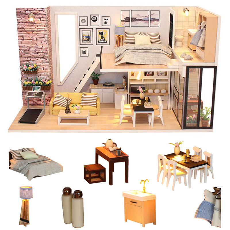 diy doll house toy miniatures kitchen dollhouse accessories wooden miniature dollhouse diy kast kit furniture drewniany domek