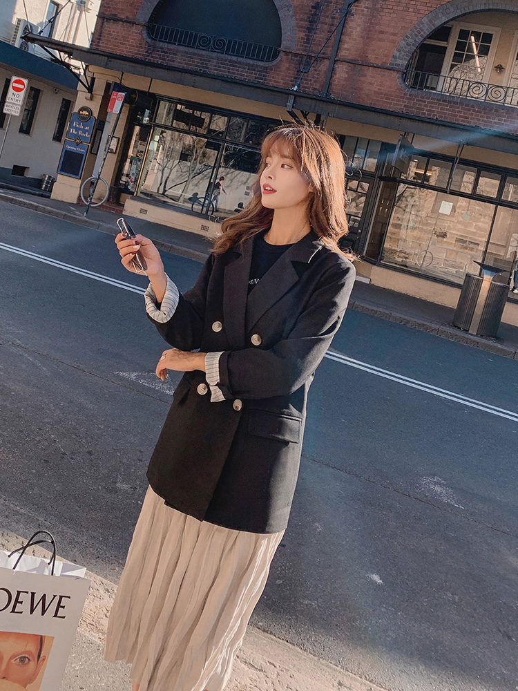 Vintage Black Ladies Blazer Casual Loose Suit Jacket Long Sleeve Bleizer Femenino Korean High Street Spring Women Blazer MM60NXZ